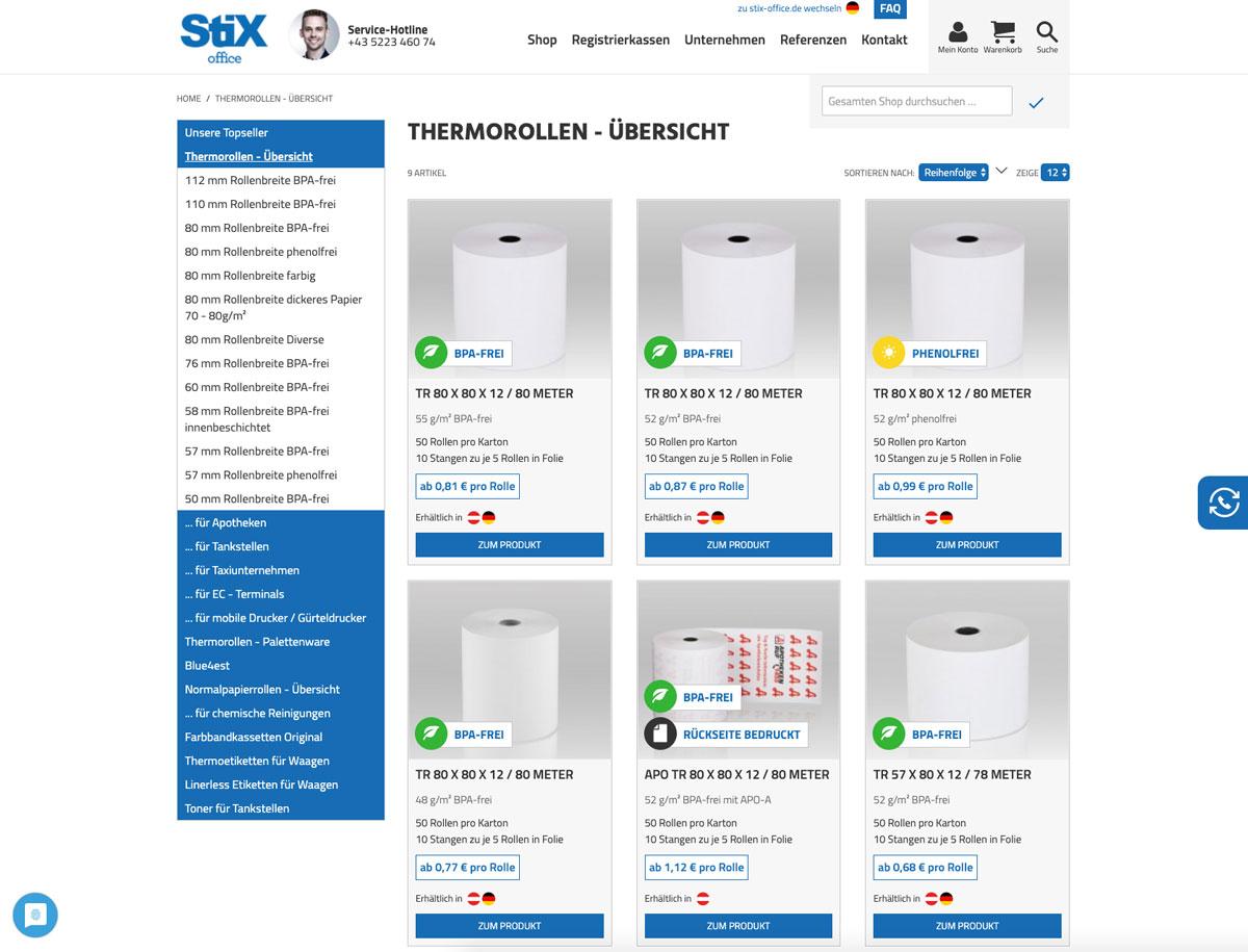 Magento Onlineshop für stix-office.at