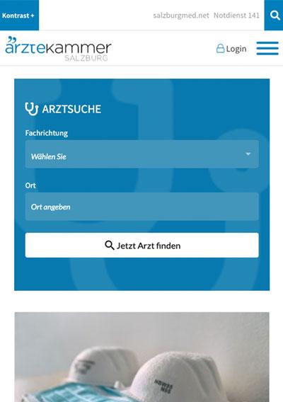 Ärztekammer für Salzburg / TYPO3 Website / responsive Website