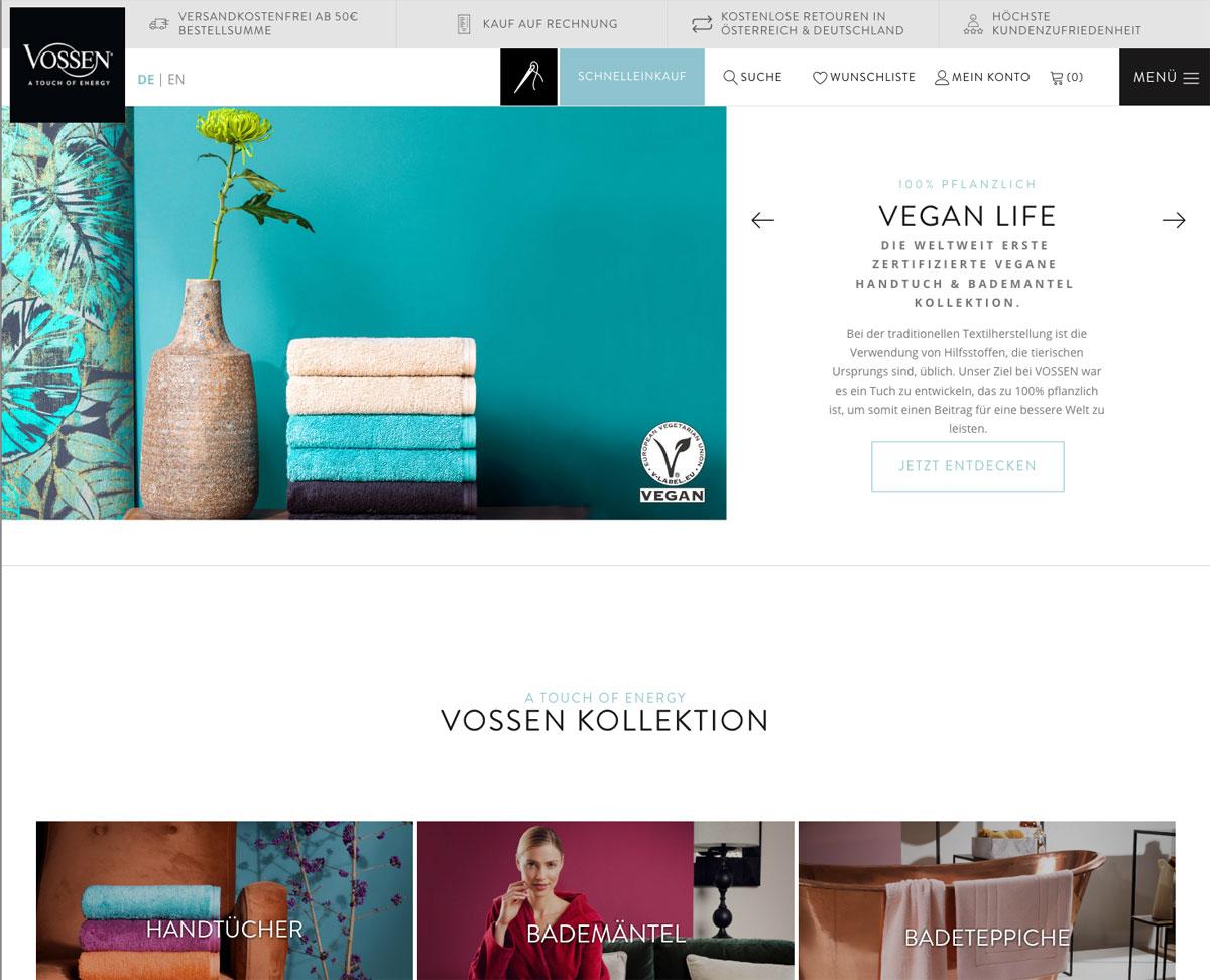 Onlineshop für Vossen